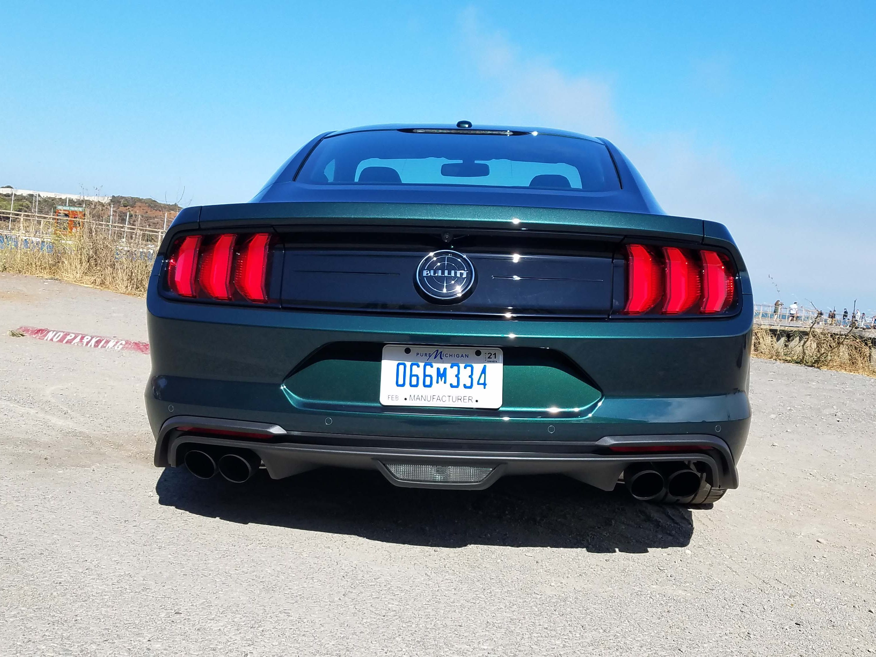 The business end of a 2019 Ford Mustang Bullitt. The Bullitt adds to the mystique of the best-selling muscle car in America.