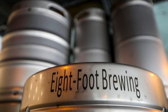 Their kegs. Eight-Foot Brewing, which opened July 28 in Cape Coral. The brewery specializes in small-batch beers and opened after three years of planning by husband and wife Roger and Alex Phelps.
