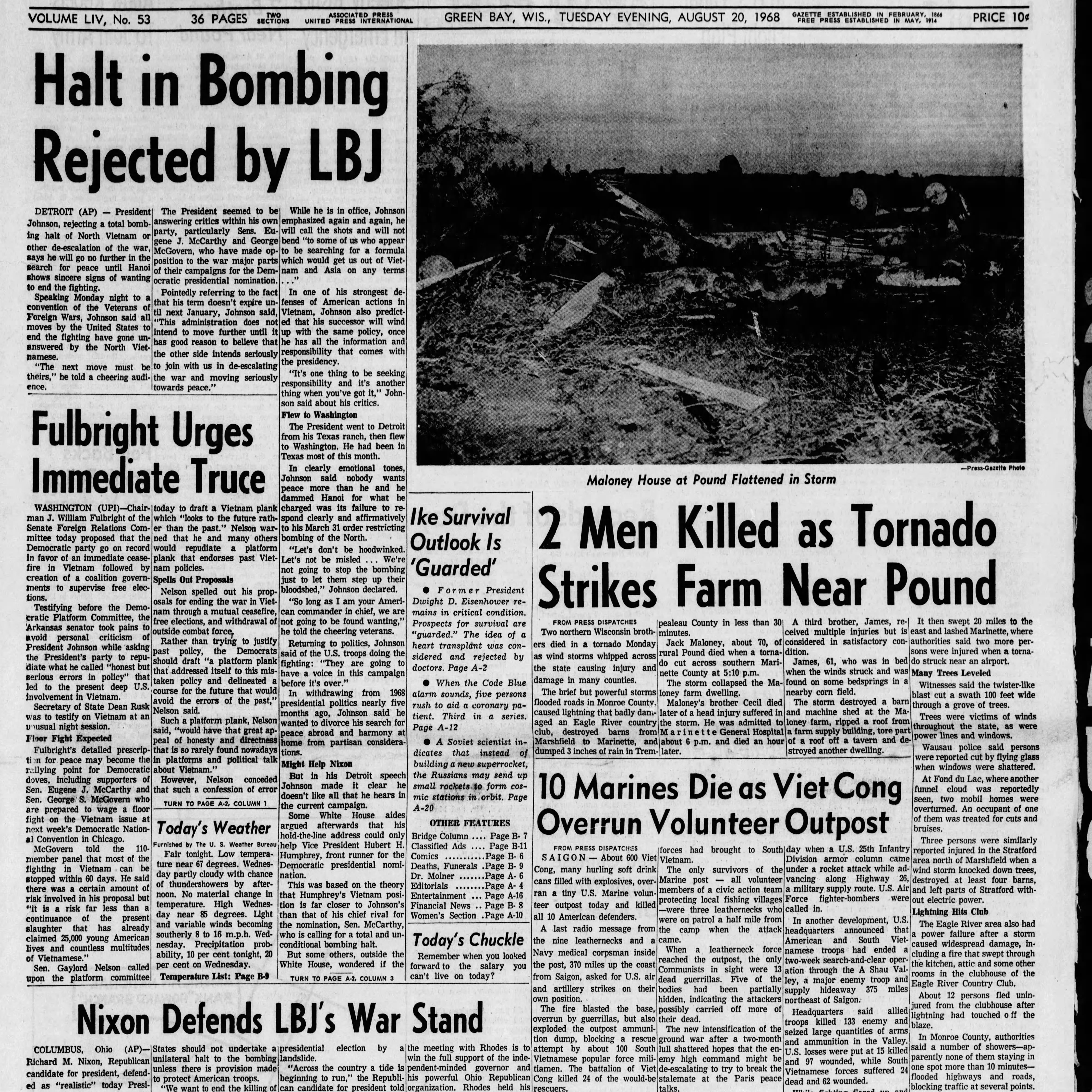Green Bay Press-Gazette today in history: August 20