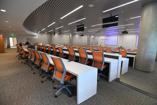 The new nursing school provides more teaching space, including this 250-seat auditorium.