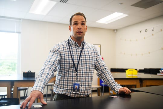Jeff Haigler talks about his first day as a science teacher at Sevier Middle School on Monday, Aug. 20, 2018.
