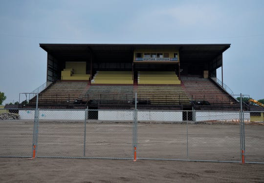 The $2.8 million grandstands project at Montana ExpoPark began Monday morning with the demolition of the old 2,000 seat structure performed by Steel Etc.