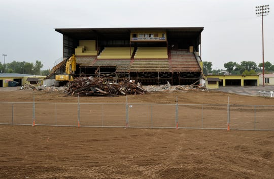 The Montana ExpoPark grandstands in the early stages the demolition project, Monday.  $2.8 million grandstands project will see the old 2,000 seat structure replaced with a new similiarly sized venue.