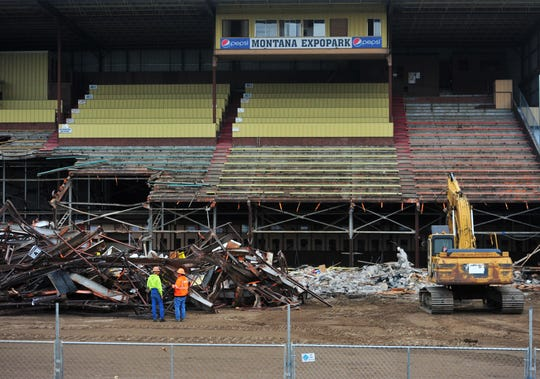 The $2.8 million grandstands project at Montana ExpoPark began Monday morning with the demolition of the old 2,000 seat structure being performed by Steel Etc.