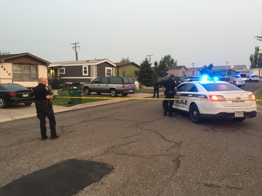 Great Falls police on the scene Sunday evening of a shooting in Highwood Mobile Home Court.
