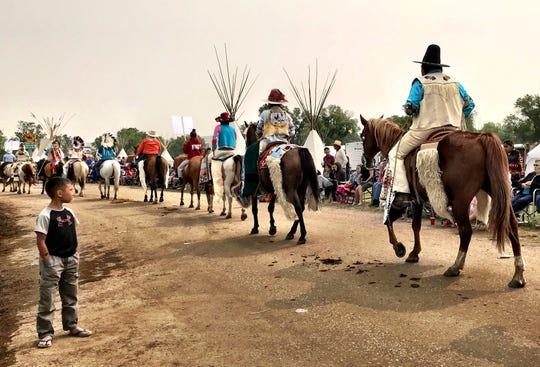 Mornings at Crow Fair begin with a parade, which draws participants from all over Indian Country and spectators from all over the world.