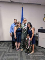 Justin P.R. Aguigui was recently promoted to the rank of Captain in the U.S. Air Force at Minot Air Force Base in Minot, North Dakota. Present with his parents, Jesse and Pamela his wife, Justina and his daughter, Tasi Bonita. Justin is a 2009 graduate of Father Duenas Memorial School and a 2014 graduate of the University of Hawaii Manoa.