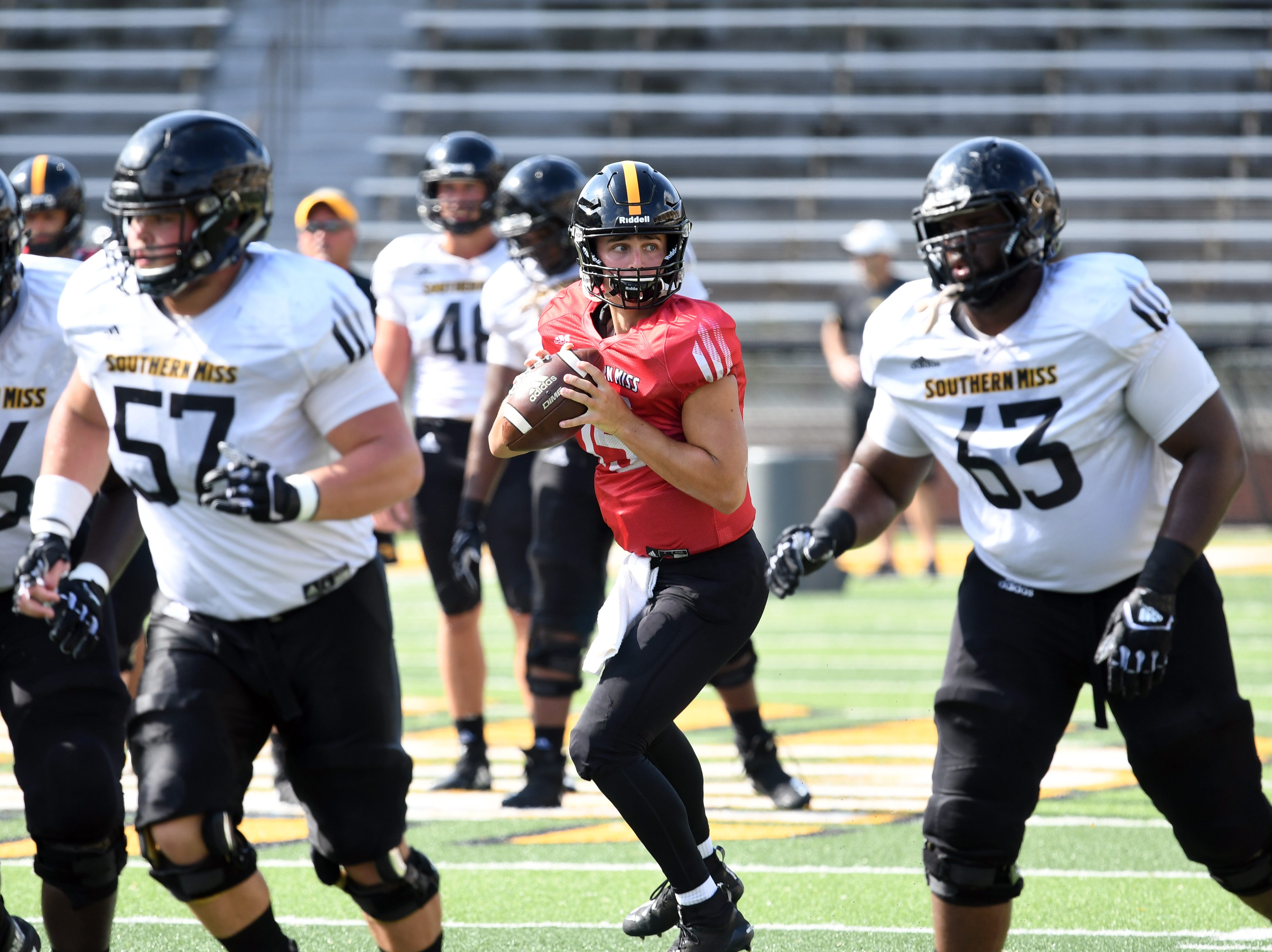 Southern Miss quarterback Jack Abraham looks for his receiver during the teams last week of fall camp on Monday, August 20, 2018.