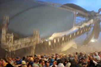 This raw video shows the stage collapse at the Indiana State Fair in Indianapolis on Aug. 13, 2011.