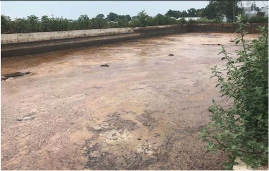 Cattle manure mixture in a holding lagoon at farm near site of a fish kill, July 31, 2018.