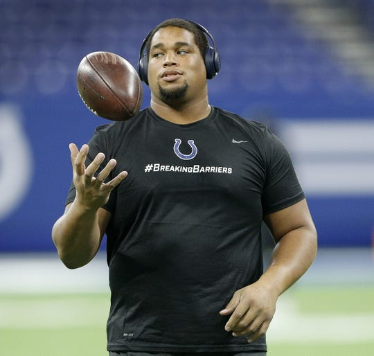 Indianapolis Colts defensive tackle Al Woods (99) before the start of their preseason football game at Lucas Oil Stadium on MondayAug 20.
