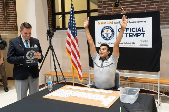 Purdue University chemical engineering professor Vilas Pol set the official Guinness World Record on Aug. 15 for the fastest time to arrange all 118 chemical elements on the periodic table. He assembled the chart in eight minutes and 36.25 seconds.