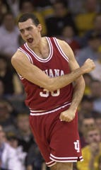 Kirk Haston of Indiana reacts to sinking a shot during the Hoosiers game against Iowa  Jan 27 2001 in Iowa City Iowa.