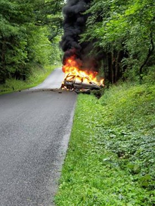Car engulfed in flames on Bostwick Road
