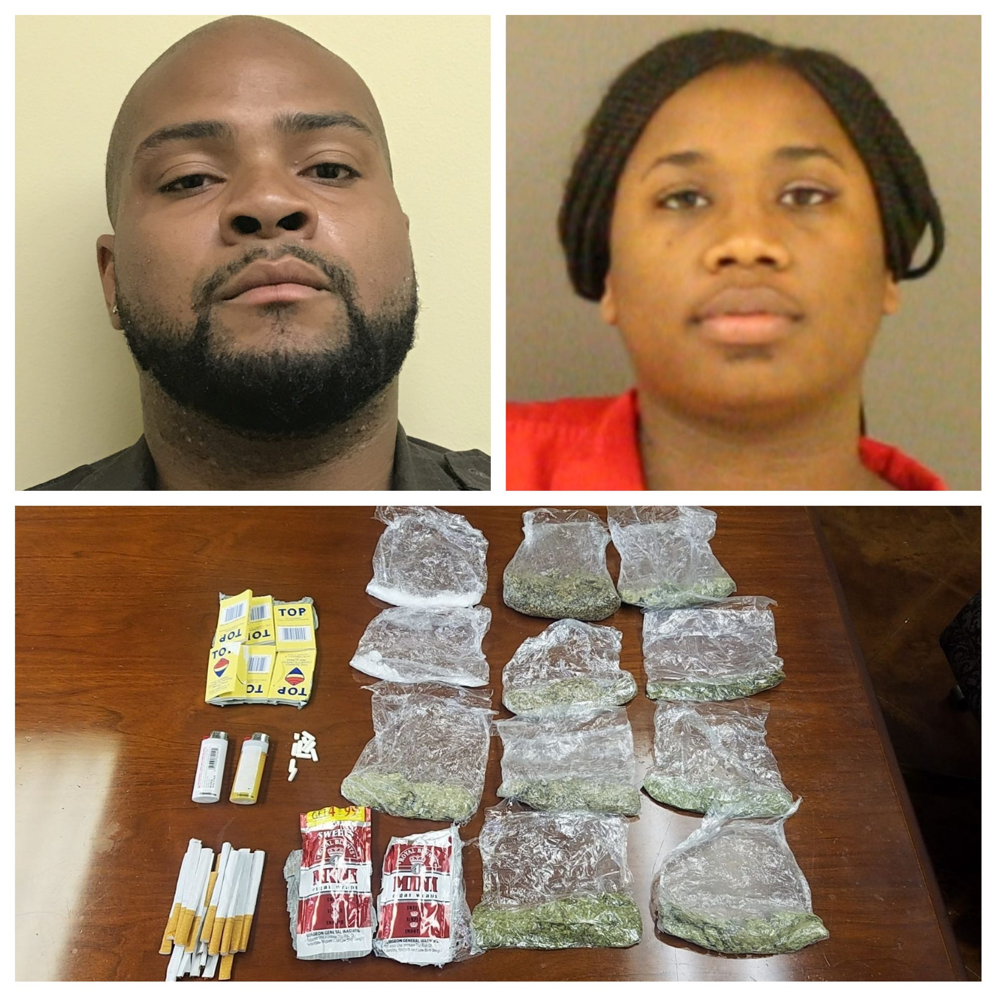 Marcell Anderson and Shauntavia Lee with contraband they are alleged to have brought into the Raymond detention center.