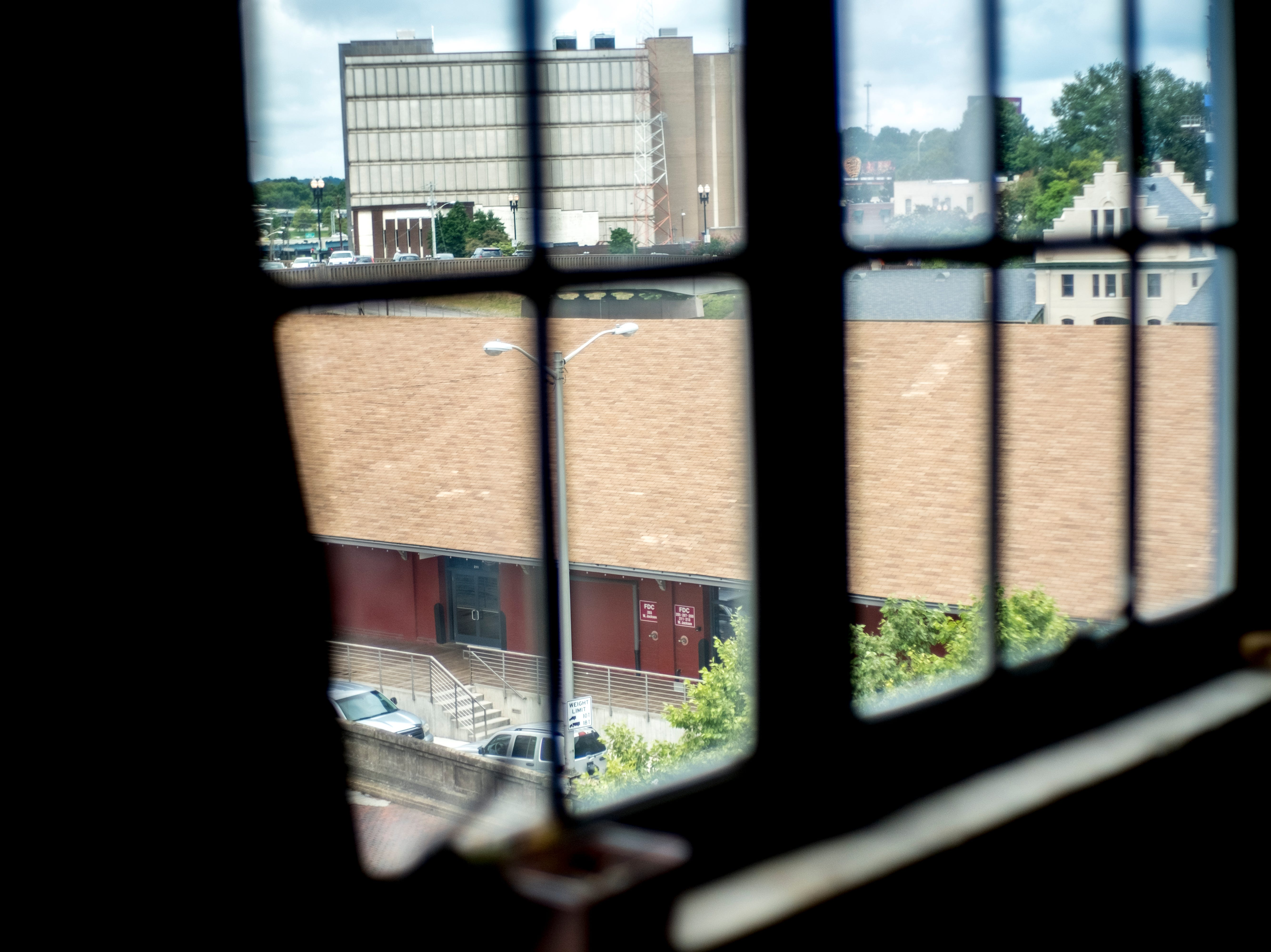 A view of Jackson Terminal from the JFG loft of Logan and Katherine Higgins in Old City in downtown Knoxville, Tennessee on Saturday, August 18, 2018.