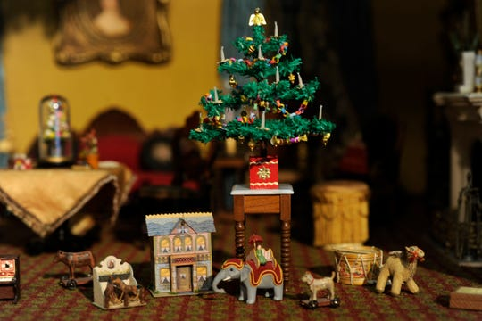 The Thorne Rooms at the Knoxville Museum of Art now get decorated by area miniaturists for the Christmas holidays. Here is a display from 2011.