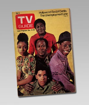 """This TV Guide  December 1974 cover showing the cast of the show """"Good Times"""" is part of the touring exhibition """"For All the World to See: Visual Culture and the Struggle for Civil Rights"""" opening at the McClung Museum of Natural History and Culture."""