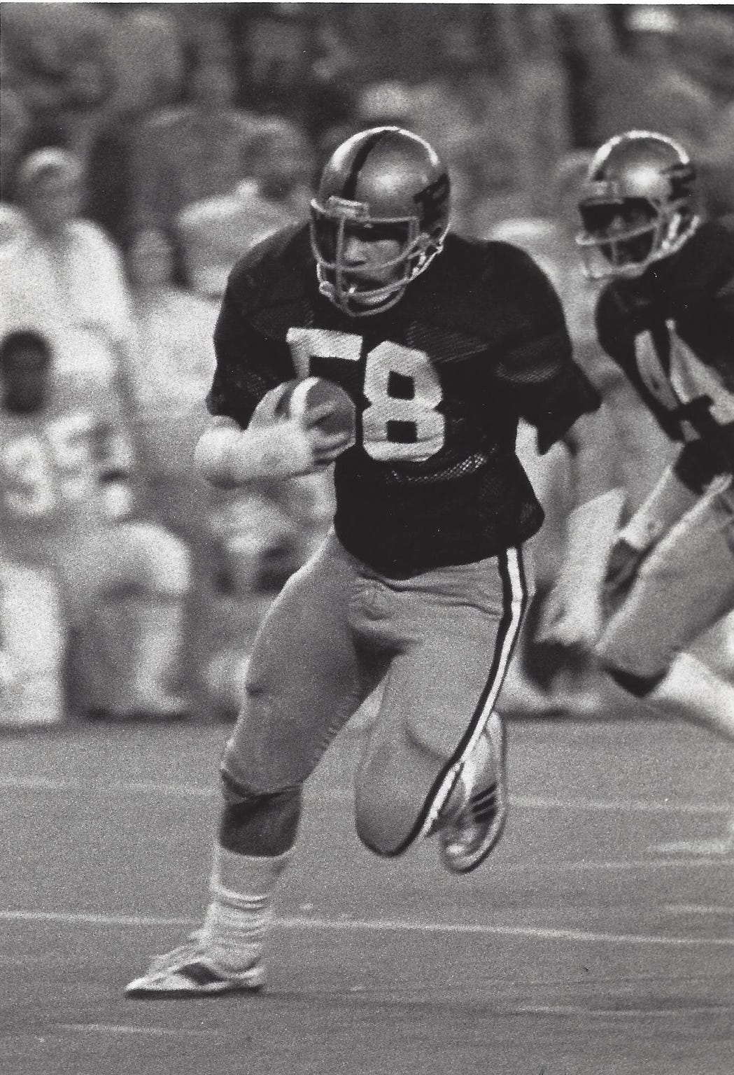 Purdue linebacker Kevin Motts during his final game as a Boilermaker, in the 1978 Bluebonnet Bowl.