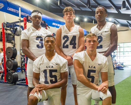 Lafayette Christian defensive standouts Martin Lee (3), Drake Woodson (24), Ca'lib Watts (2), Sage Ryan (15) and Nicholas Picard.