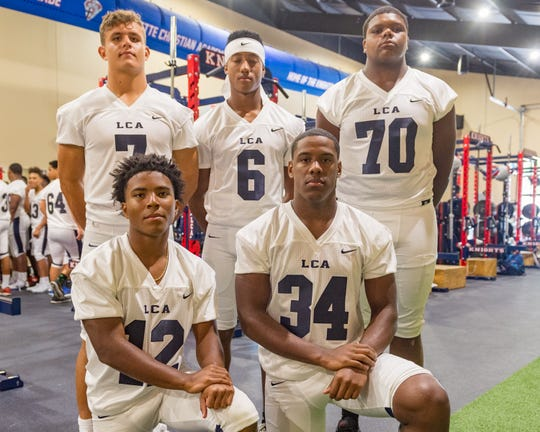 Lafayette Christian offensive standouts Zachary Clement (7), Errol Rogers (6), Devin Charles (70), Montreal Felix (12) and Logan Gabriel (34).
