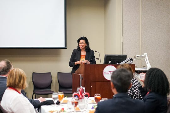 New Commissioner of Higher Education Kim Hunter Reed speaks Monday at the Picard Center in Lafayette. She was visiting the University of Louisiana at Lafayette as part of the Louisiana Board of Regents Back to School tour.