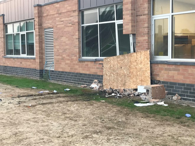 This photo shows where a car crashed into Fairview Elementary on Sunday night. Three people have now died from the crash.