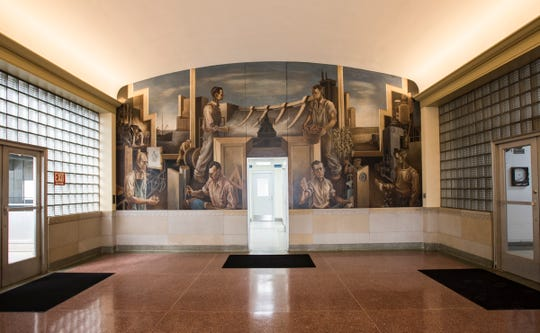 "A mural in the main lobby of the Lansing Board of Water and Light's John Dye Water Conditioning Plant entitled ""Water as Hydro-Electric Power"" by  New Deal artists Charles Pollock, brother of artist Jackson Pollock.   Built in 1939, the plant conditions and distributes about 40 million gallons of water per day."