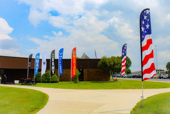 Banners celebrating veterans from all U.S. military branches decorated Tri-Rivers Vocational School on Saturday Aug. 18 for the Honor Flight at Home event.