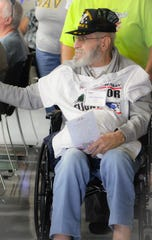 Leo Anatra, a Marine veteran from the Korean War, attends the Honor Flight at Home event this past summer at Tri-Rivers Vocational School.