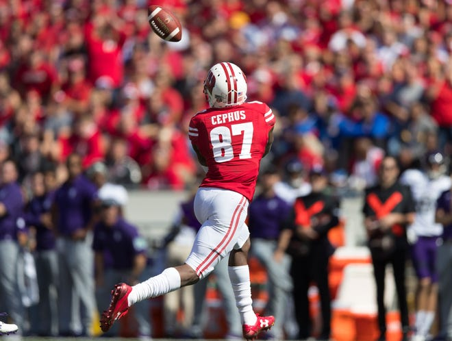 Badgers wide receiver Quintez Cephus catches a pass in a game against Northwestern last season.
