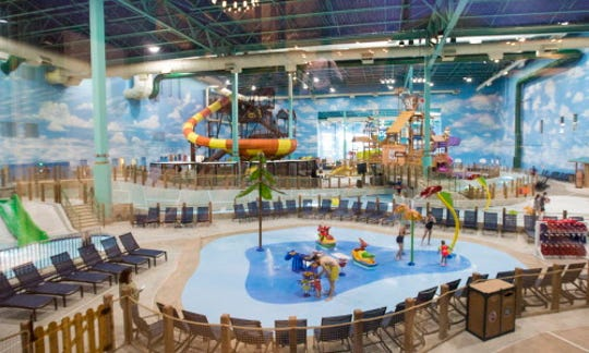 The water park in the Great Wolf Lodge is seen from the lobby.