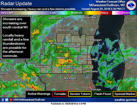 Rain and thunderstorms continue to move into southern and central Wisconsin.