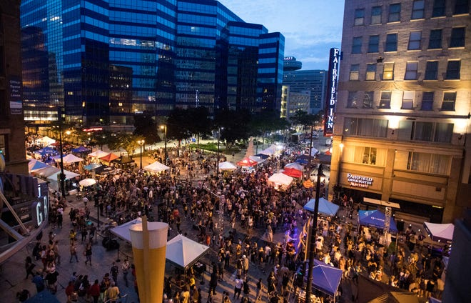 Newaukee Night Market includes a VIP section that is on the third floor balcony at the Grand Avenue mall. The balcony overlooks the main central area of the Night Market.