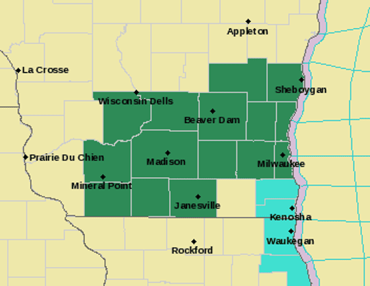 Flash flood watches cover most of southern Wisconsin.