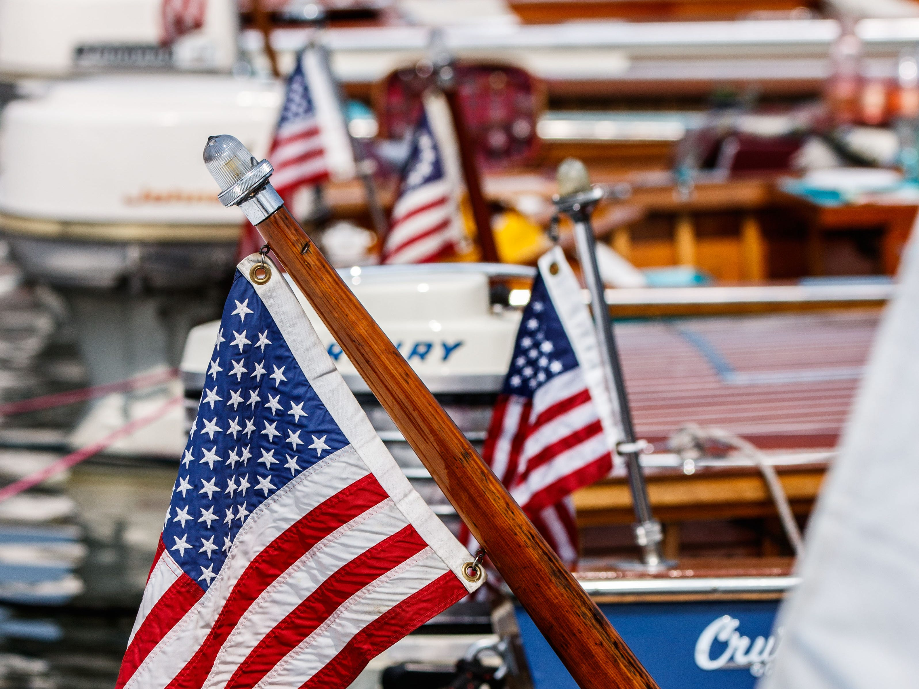 Beautifully restored vintage boats glisten in the sun during the 14th annual Pewaukee Antique & Classic Boat Show & Vintage Car Show on Saturday, August 18, 2018. The event, hosted by the Glacier Lakes Chapter of the Antique and Classic Boat Society, features antique and classic boats, classic cars, vintage big wheel bicycles, live music, childrenÕs activities and more.