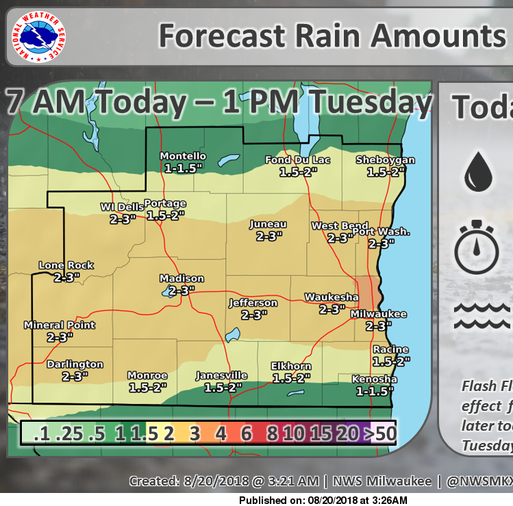 Flash flooding reported in Madison. Most of southern Wisconsin under flash flood watch until morning.