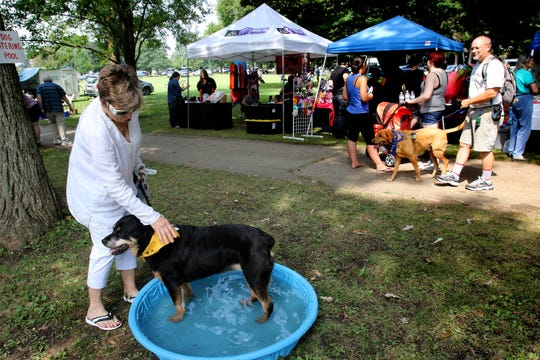 Luxe finds a wading pool with Carol Raasch of Glendale during the 11th annual HAWS Pet Fair at Rotary Park in Menomonee Falls last year.