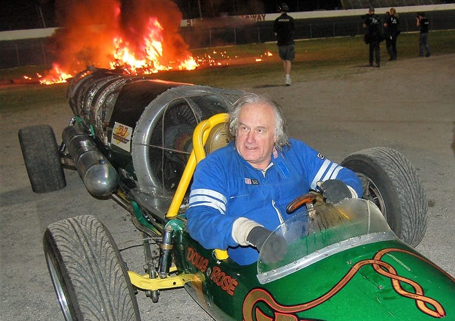 Doug Rose, at the wheel of his jet-powered dragster, the Green Mamba