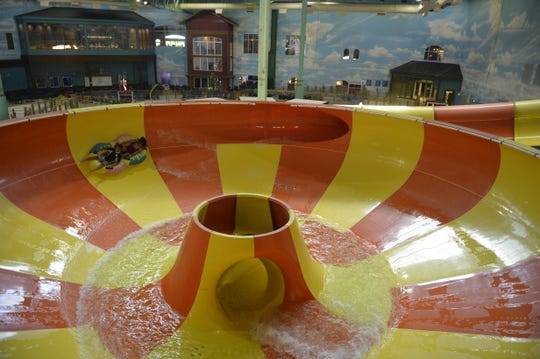 Double Whirlwind is one of the new family slides constructed by Great Wolf Lodge.