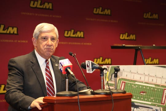 University of Louisiana Monroe President Nick Bruno talks at a news conference in August 2018 announcing a $450,000 donation from JPS Aviation and JPS Equipment Rental for new FieldTurf at Malone Stadium.