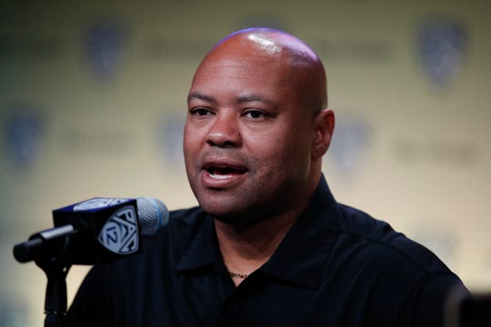 Stanford head coach David Shaw speaks at the Pac-12 Conference NCAA college football Media Day in Los Angeles, Wednesday, July 25, 2018. (AP Photo/Jae C. Hong)