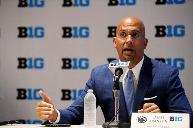 Penn State head coach James Franklin speaks at the Big Ten Conference NCAA college football Media Days in Chicago, Monday, July 23, 2018. (AP Photo/Annie Rice)