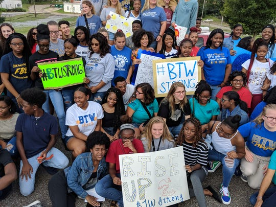 Booker T. Washington Magnet High School students rally on Aug. 20, 2018, two days after one of the school's buildings burned down.