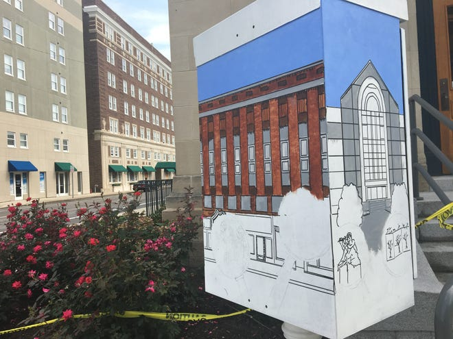 As of Monday, Aug. 20, Bob Hartley has made progress in painting the traffic signal box at Charles and High streets. The work is part of Muncie Arts and Culture Council's Box! Box! project, aiming to paint traffic signal boxes around Muncie.