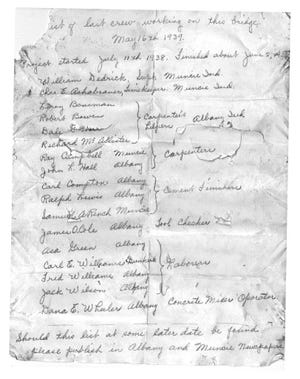 A near 80-year-old note listing construction workers who worked on the Water Street bridge in Albany, Ind., was found last week.