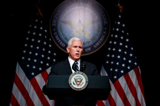 Vice President Mike Pence speaks during an event on the creation of a United States Space Force, Thursday, Aug. 9, 2018, at the Pentagon. Pence says the time has come to establish a new United States Space Force to ensure America's dominance in space amid heightened completion and threats from China and Russia. (AP Photo/Evan Vucci)