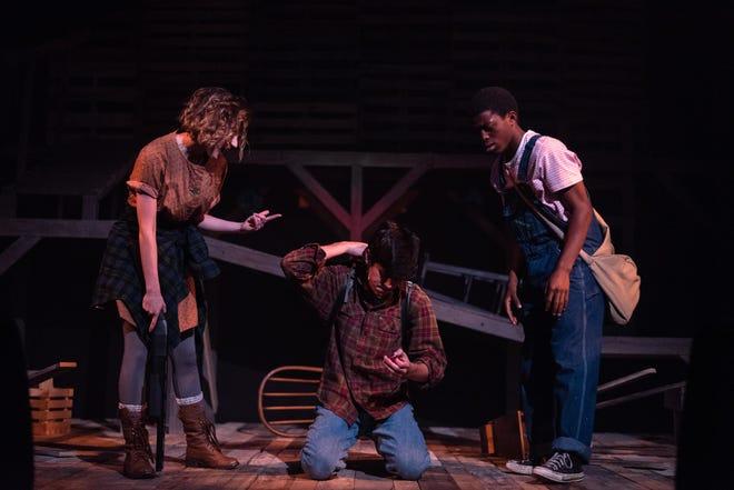 "Kayla Petrille, left, Seth Bennett and  Chamberlin Little in ""The Burnt Part Boys."""