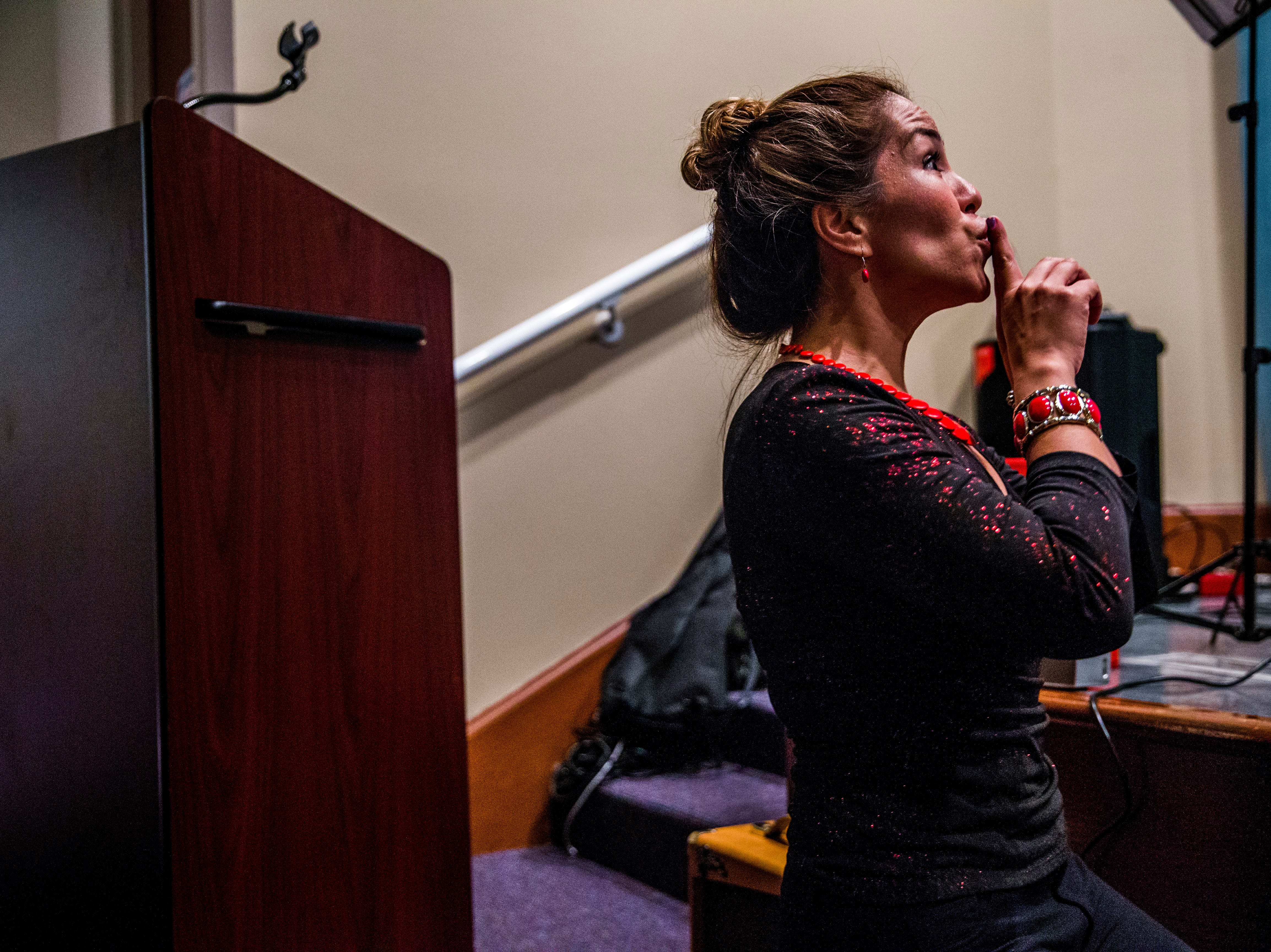Marcela Guimoye instructs the EndlessBrain campers during their recital for their friends and family at the Collier County Library in Naples on Saturday, Aug. 11, 2018. To conclude the camp, Guimoye put on a recital for the campers to be able to perform the songs they learned during their time with EndlessBrain.