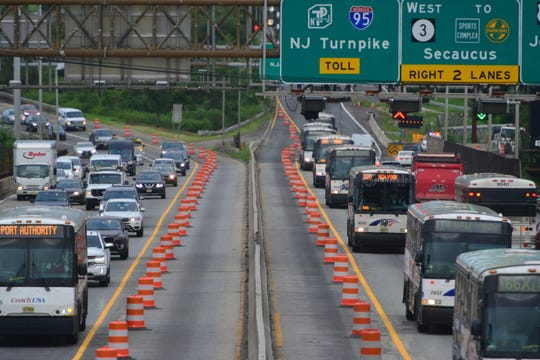 Construction on the Route 495 bridge to the Lincoln Tunnel has closed the left lane in each direction in North Bergen on Monday August 20, 2018.